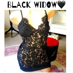 Black widow lace dress👿